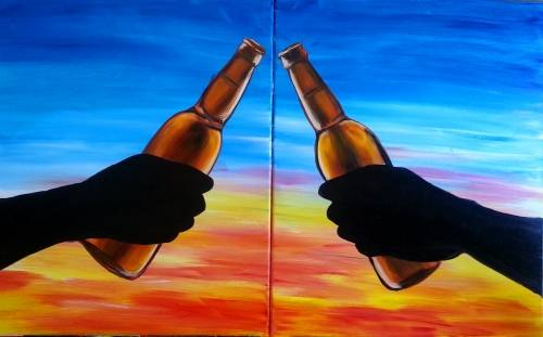 A To Us Cheers With Beers Partner Painting paint nite project by Yaymaker