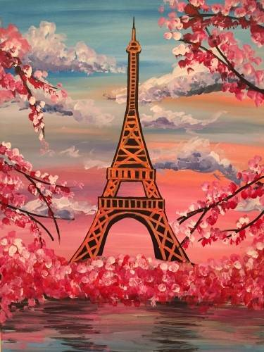 A Parisian Cherry Blossom paint nite project by Yaymaker