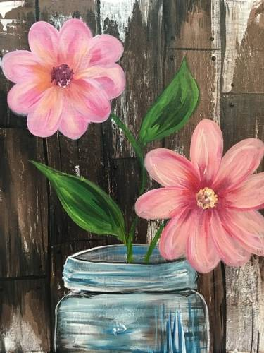 A Barn Door Blossoms paint nite project by Yaymaker