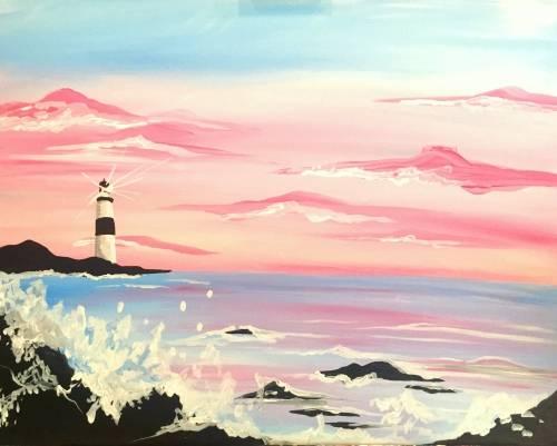 A Pink Sky Lighthouse paint nite project by Yaymaker