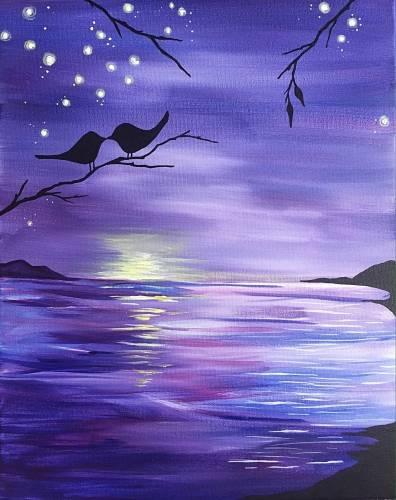 A Purple Ocean Sunset Kinda Love paint nite project by Yaymaker