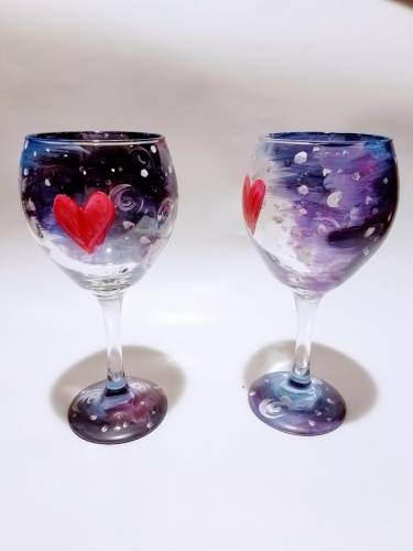 A Love Across Galaxies Wine Glasses paint nite project by Yaymaker