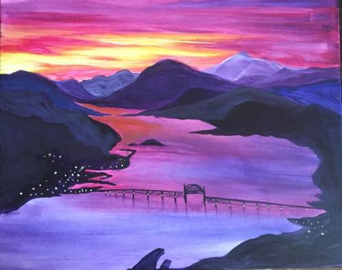 A Sunset in the Gorge paint nite project by Yaymaker