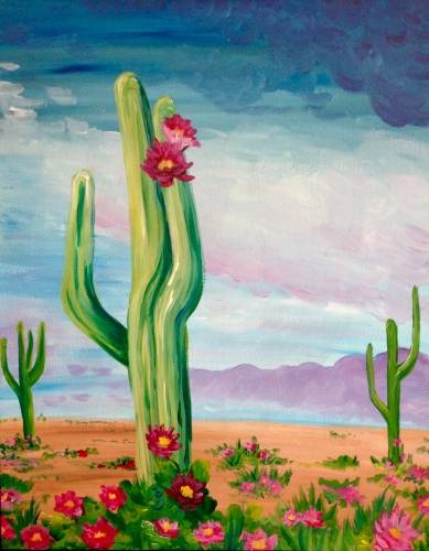 A Desert Flowers paint nite project by Yaymaker