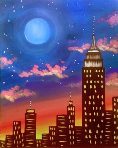 A Blue Moon Over the Empire State paint nite project by Yaymaker