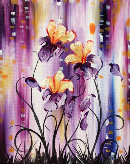A Irises in Bloom paint nite project by Yaymaker