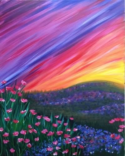 A Pink Poppies Under Rainbow Sky paint nite project by Yaymaker