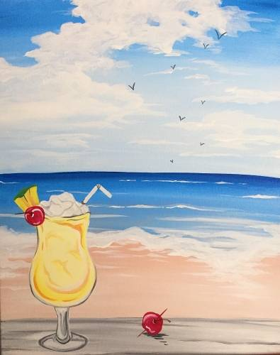 A Pina Colada Paradise paint nite project by Yaymaker