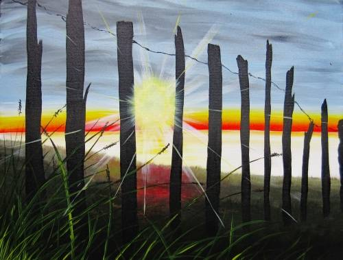 A Beach Fence Sunrise paint nite project by Yaymaker