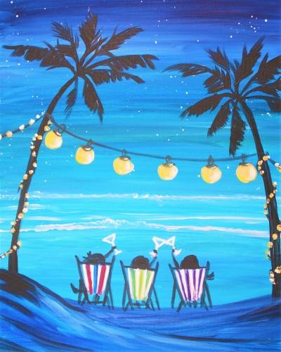 A What Happens at the Beach paint nite project by Yaymaker