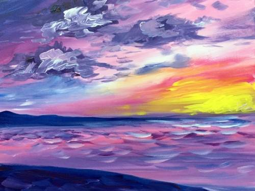 A Serene Summer Sunset paint nite project by Yaymaker