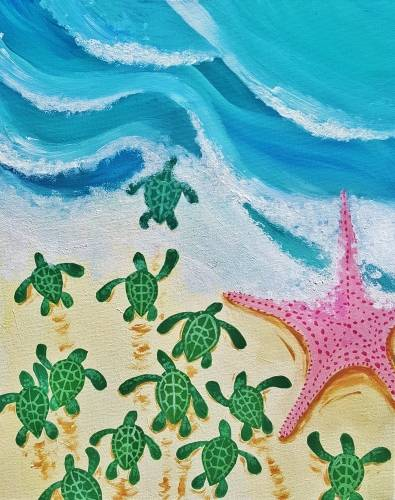 A Baby Sea Turtles and Friend paint nite project by Yaymaker