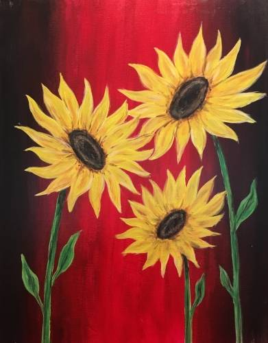 A Summer Sunflowers paint nite project by Yaymaker