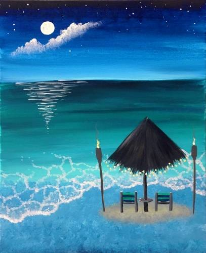 A Buenas Noches Beaches paint nite project by Yaymaker