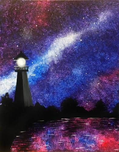 A Milky Way Lighthouse paint nite project by Yaymaker