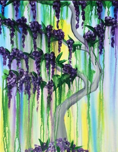 A Wisteria in Watercolor paint nite project by Yaymaker