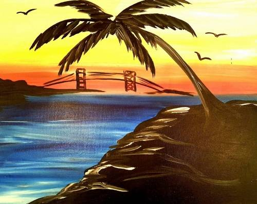 A Palm Tree by the Bay Bridge paint nite project by Yaymaker