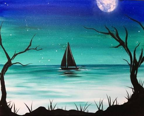 A Night Sailing paint nite project by Yaymaker