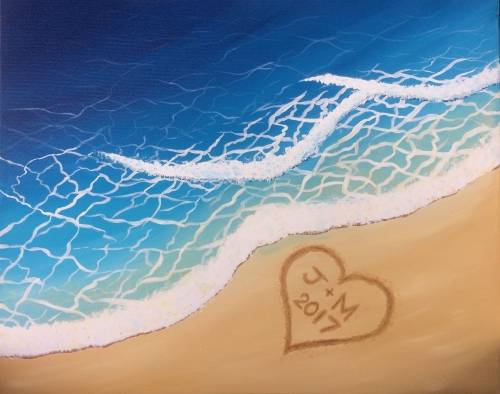 A Custom Initials Wave Beach paint nite project by Yaymaker