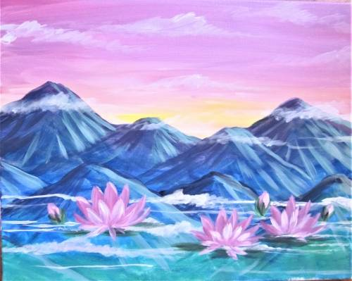 A Lily Pond in the Clouds paint nite project by Yaymaker