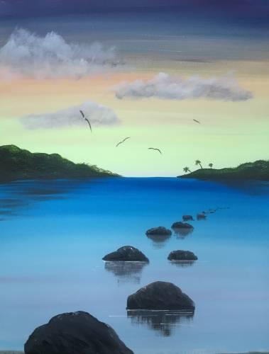 A Stepping Stones to Paradise paint nite project by Yaymaker