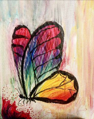 A Rainbow Monarch paint nite project by Yaymaker