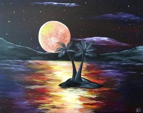 A Nighttime Sky paint nite project by Yaymaker