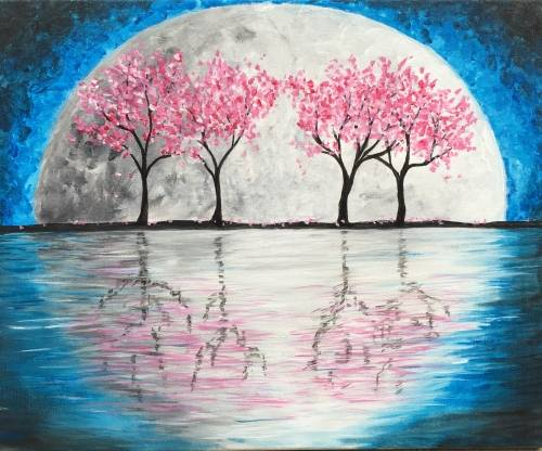 A Super Moon Cherry Blossoms paint nite project by Yaymaker
