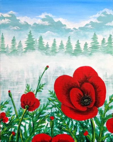 A Poppies in the Mist paint nite project by Yaymaker
