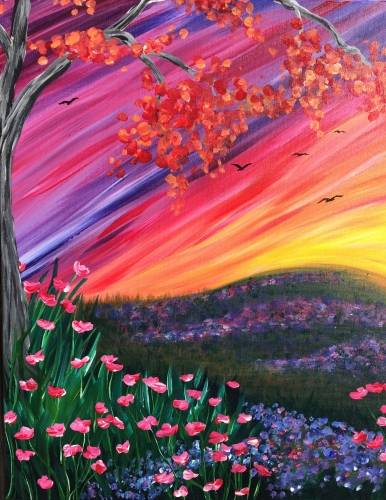 A Colorful Fall Meadow paint nite project by Yaymaker