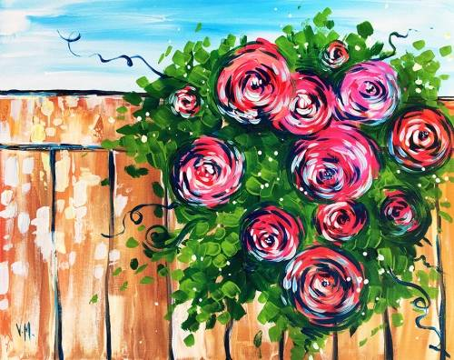 A Roses on a Fence paint nite project by Yaymaker
