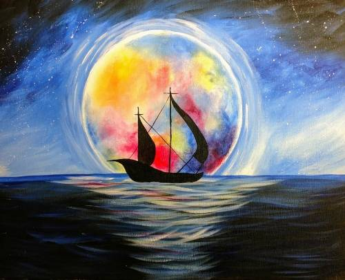 A Moonlit Voyage paint nite project by Yaymaker