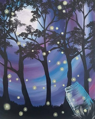 A Jar Of Fireflies paint nite project by Yaymaker