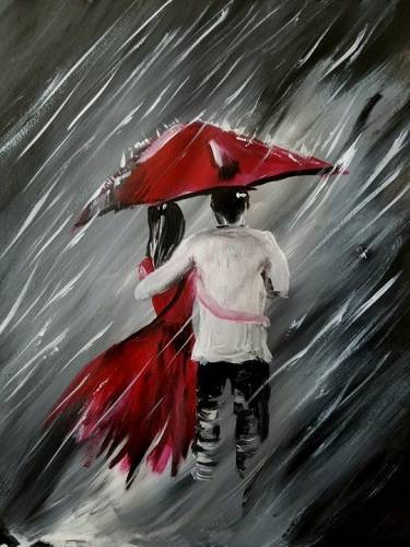 A Love in the Pouring Rain paint nite project by Yaymaker