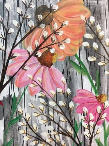 A Barnyard Wildflowers paint nite project by Yaymaker