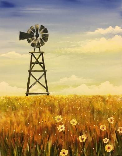 A Windmill in Fields of Gold paint nite project by Yaymaker