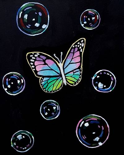 A Rainbow Butterfly Among Bubbles paint nite project by Yaymaker