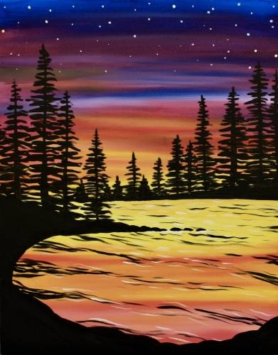 A Lovely Lake paint nite project by Yaymaker