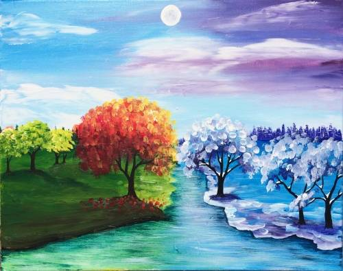A Where the Seasons Change paint nite project by Yaymaker