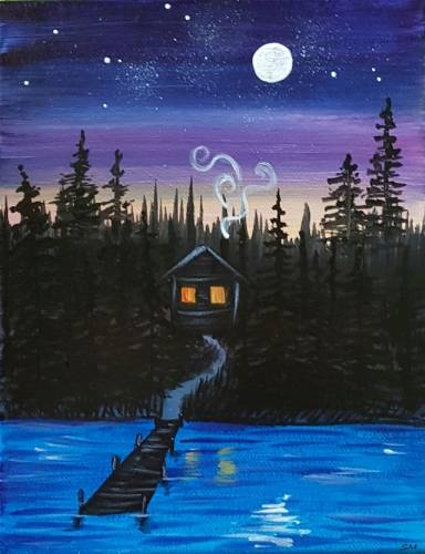 A Cabin in the Trees paint nite project by Yaymaker