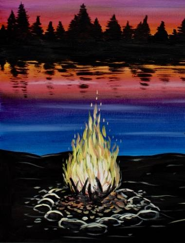 A Lakeside Campfire III paint nite project by Yaymaker