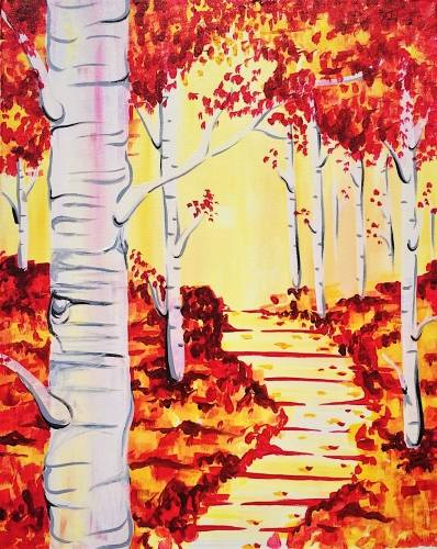 A Birch Forest in Fall paint nite project by Yaymaker