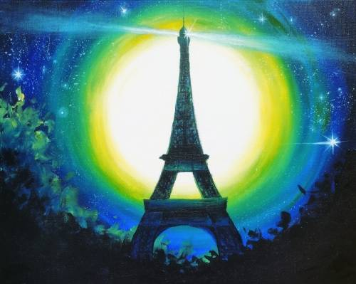 A Moonlit Eiffel paint nite project by Yaymaker