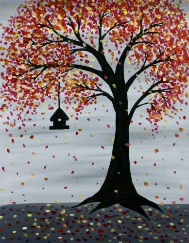 A Autumn Birdhouse paint nite project by Yaymaker