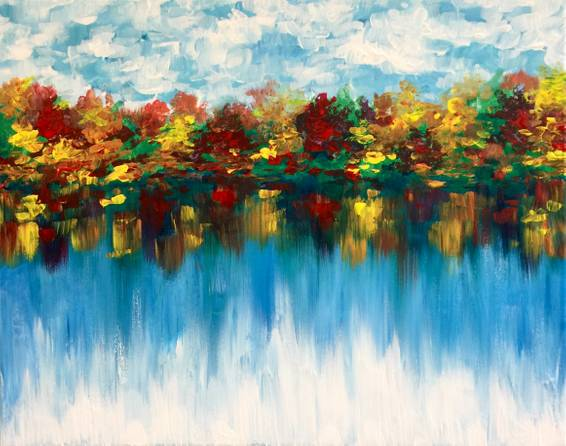 A Autumn Mirror paint nite project by Yaymaker