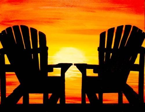 A Muskoka Chair Sunset paint nite project by Yaymaker