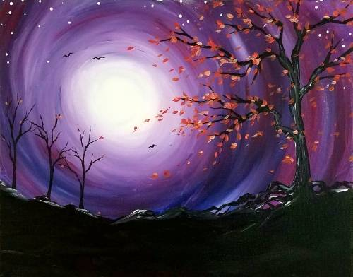 A Clear Autumn Night paint nite project by Yaymaker