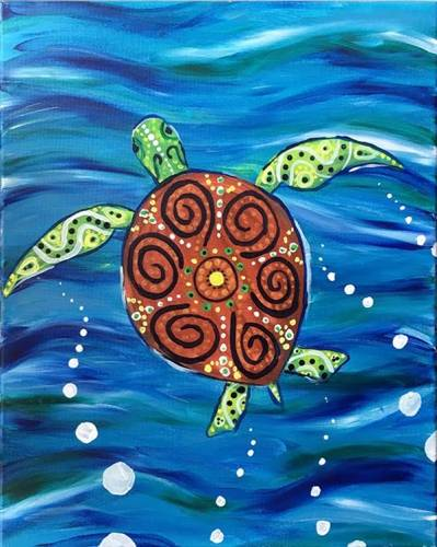 A Painted Sea Turtle paint nite project by Yaymaker