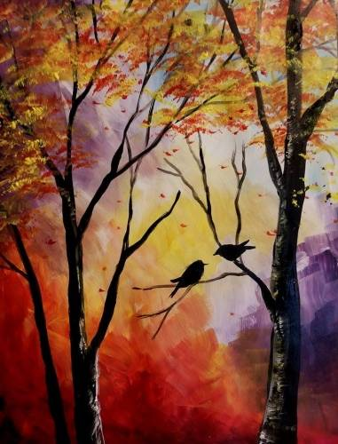 A Autumn Kiss paint nite project by Yaymaker