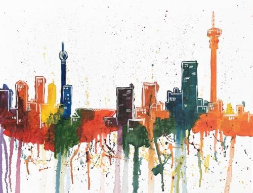A Jozi Skyline paint nite project by Yaymaker